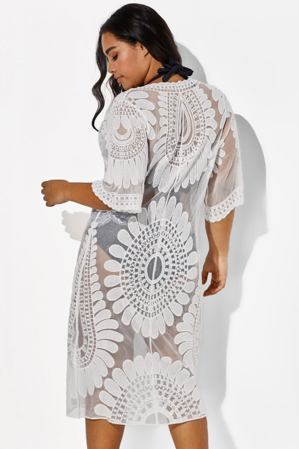 White Vacation Women Embroidery Cover Up