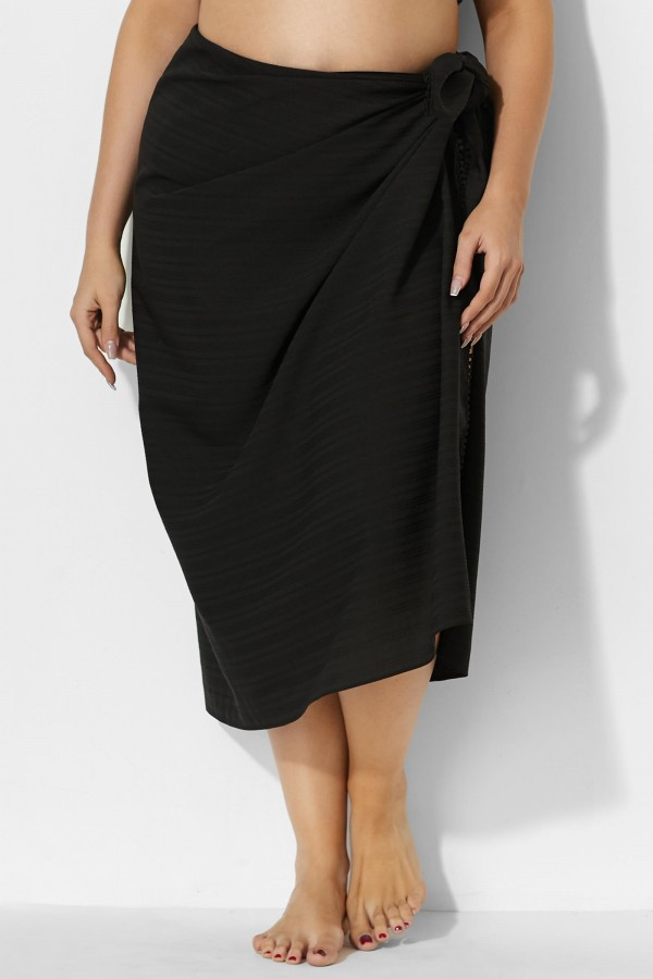 Sexy Side Tie Black Sarong Cover Up