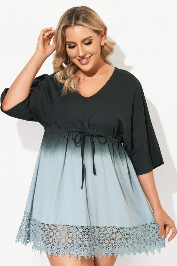 Deep V-Neck Tie-Dye Print Cover Up Dress