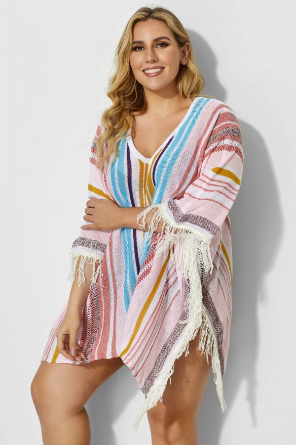 Colorful Vertical Stripes Square Cover Up With Tassels