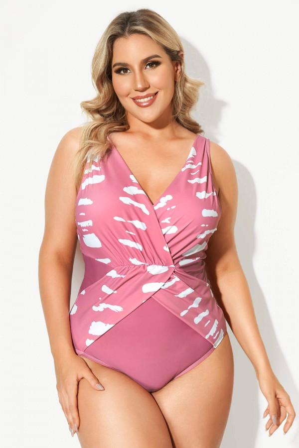 Pink Tie Dye V-Neck Women One Piece Swimsuit