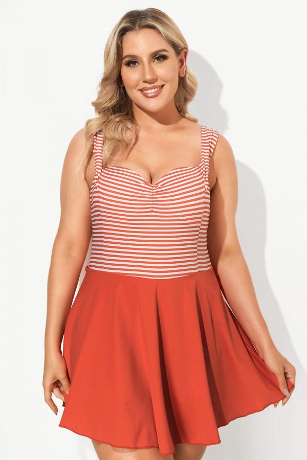Red & White Stripe Halter Flattering Underwire Swimdress