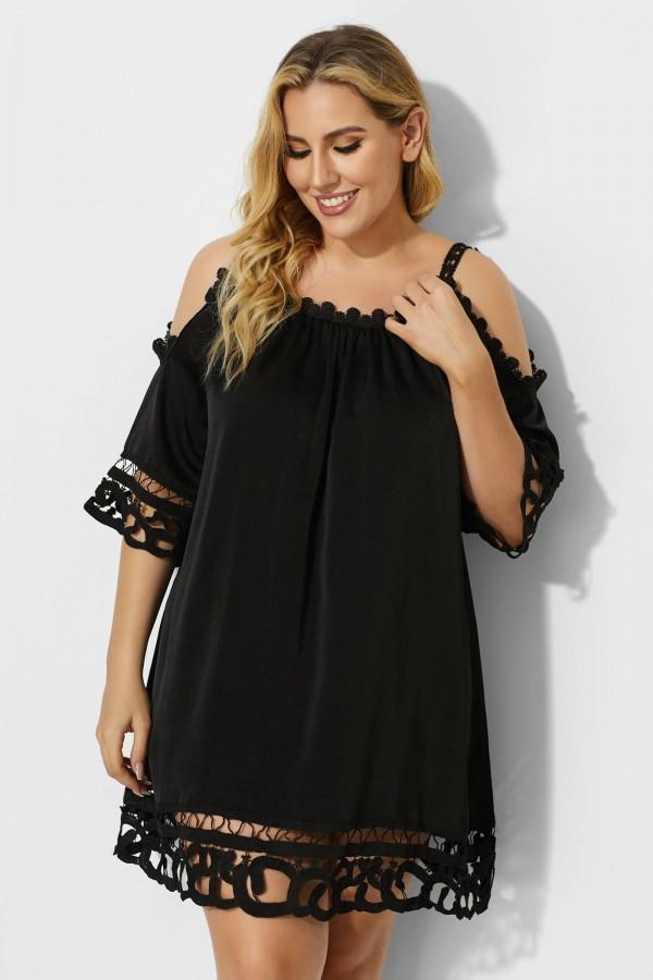 Black Crochet Off the Shoulder Cover Up Dress