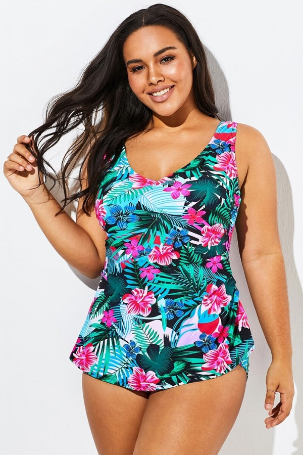 Floral Printed Sarong Front One Piece Swimsuit