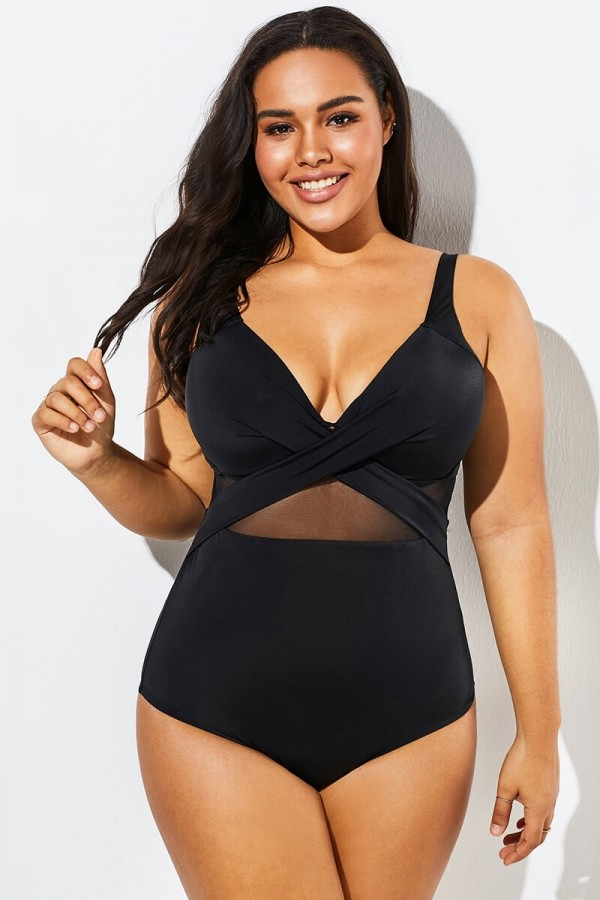 Black Cut Out Mesh Underwire One Piece Swimsuit