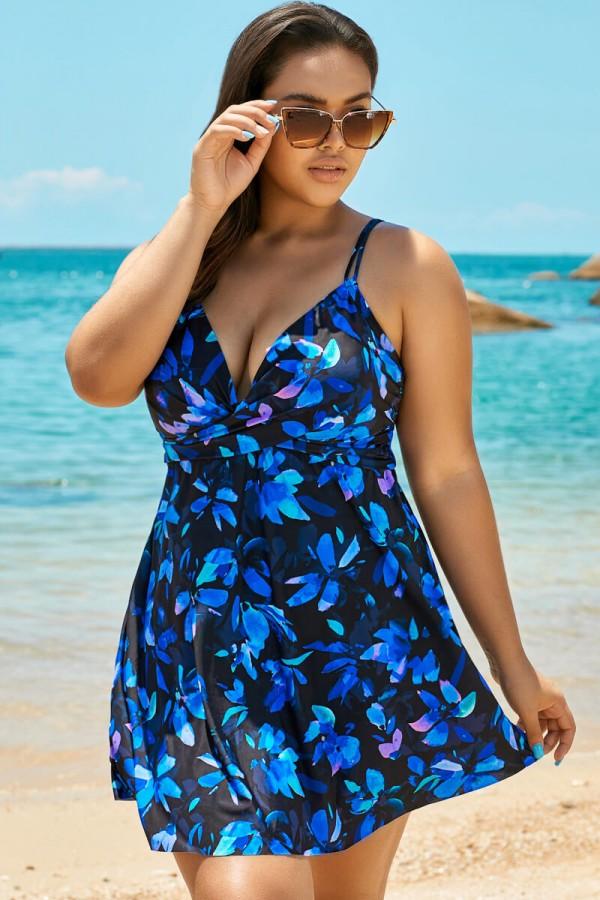 Blue Flower Women V-neck Loop Strap Swimdress