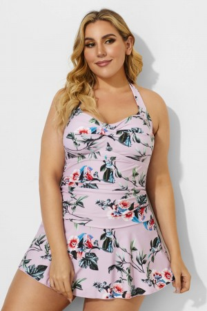 Floral Halter Sweetheart Sexy Swimdress For Women
