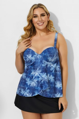Palm Leaves Printed Sweetheart Neckline Underwire Tankini Set