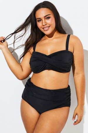 Classic Black Push Up Bandeau Bikini Set
