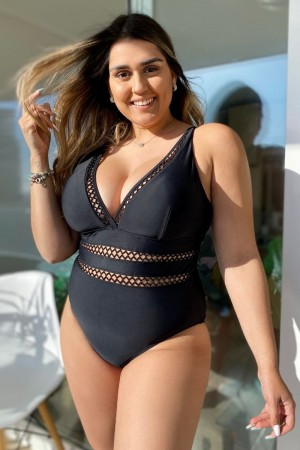 Black Lattice Plunge V-neck One Piece Swimsuit
