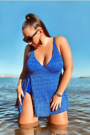 Blue Crochet Side Slit V-Neck Graceful Swimdress