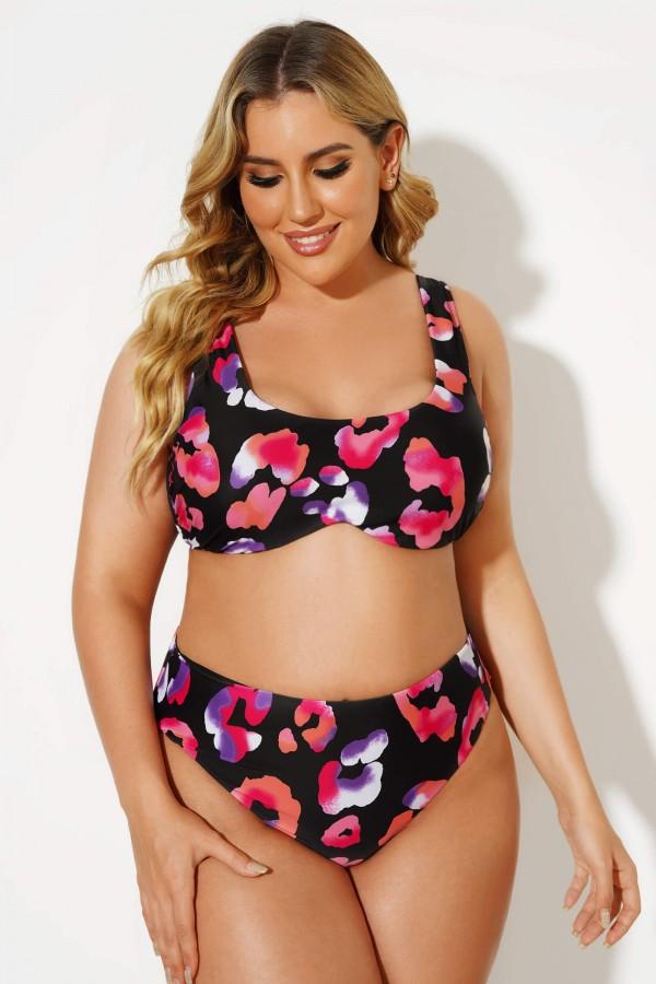 Printed Scoopneck Self-tie Straps Bikini Set