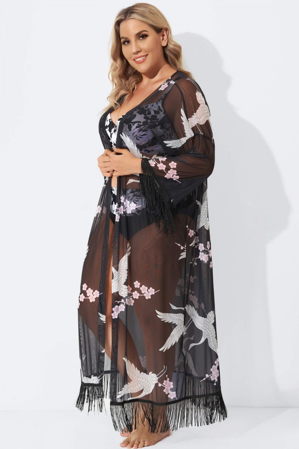 Black Bird Printed Fringed Lace Cover Up