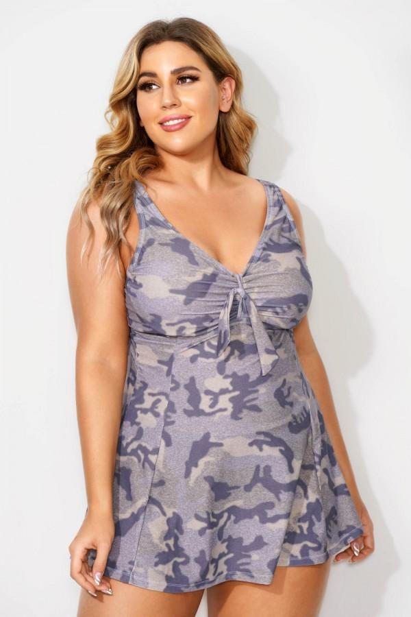 Fashionable Camouflage Sweetheart Neckline Women Swimdress