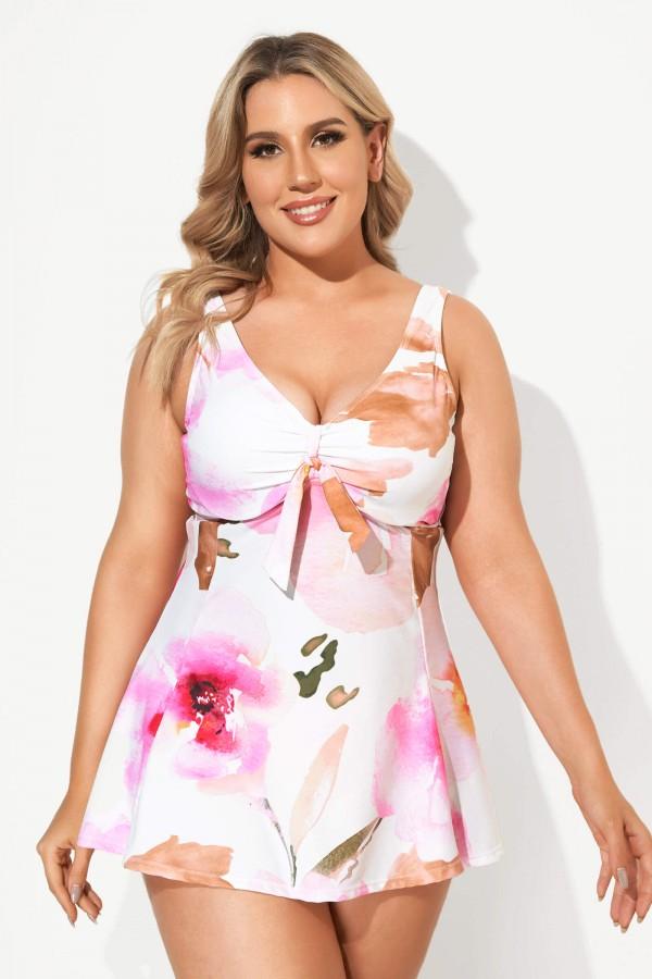 Sweetheart Neckline Tie Dye Swimdress Swimsuits