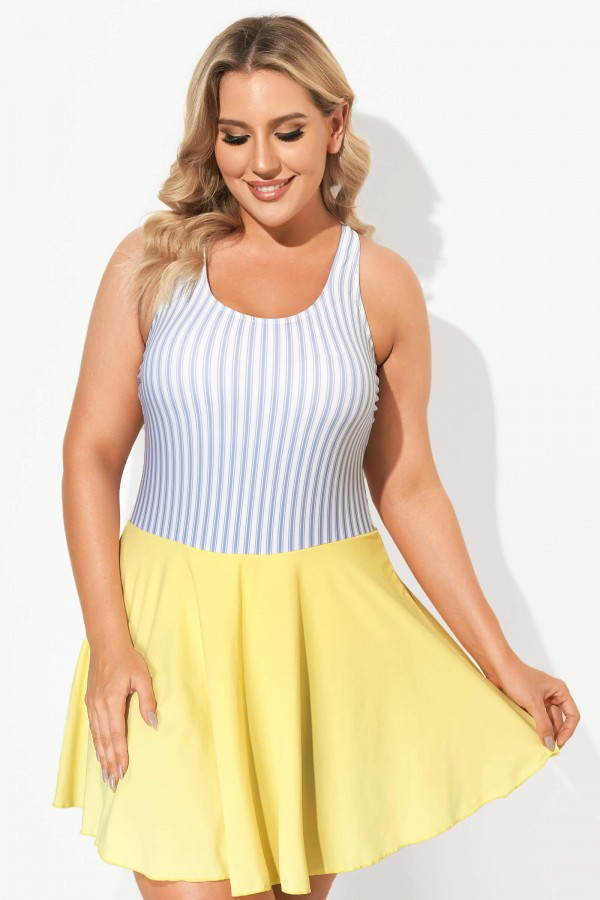 Classic Stripe Round Collar Swimdress for Lady