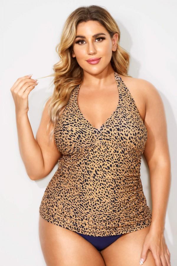 Leopard Printed Shirred Halter Women Tankini Top