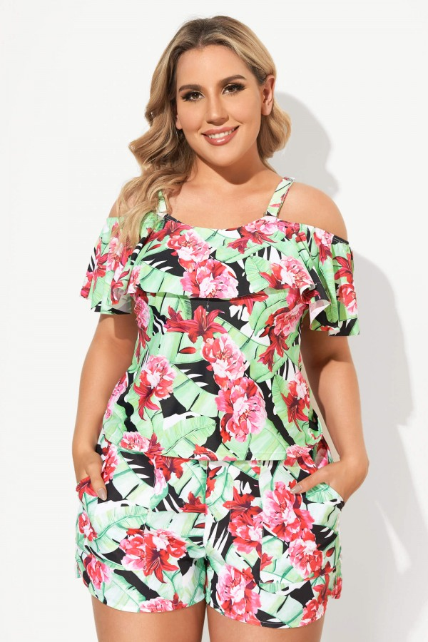 Floral Printed Off The Shoulder Women Tankini Set