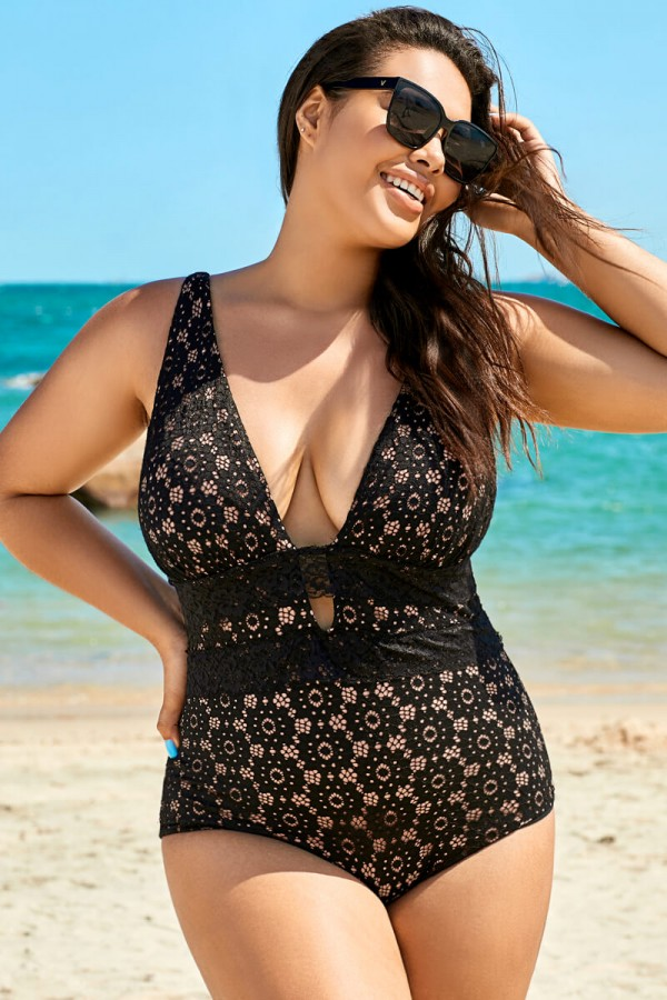 Black Sexy Lace Plunge One Piece Swimsuit