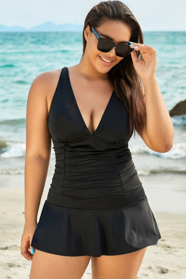 Black Shirred V Neck Elegant Lady Mini Swimdress