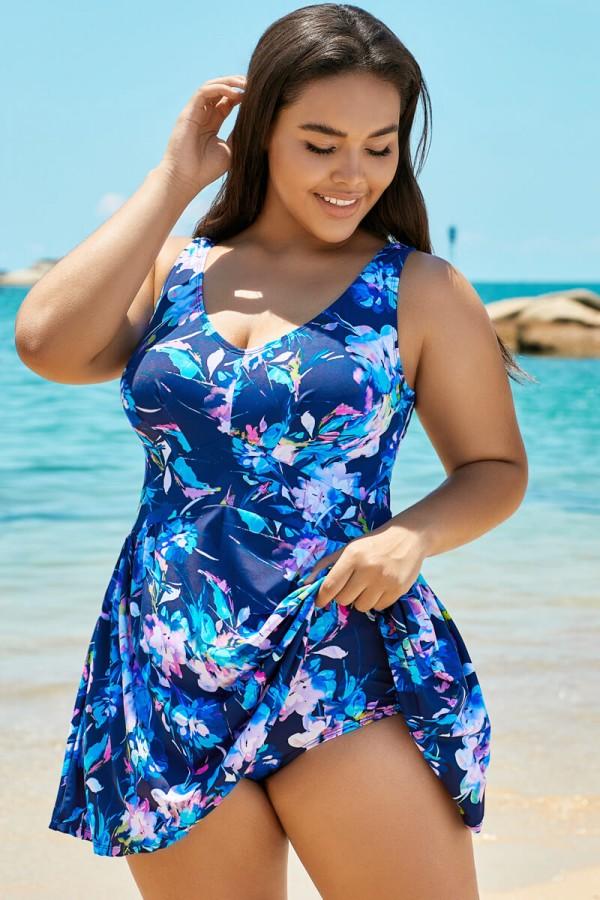Blue V-neck Elegant Flower Swimdress For Lady