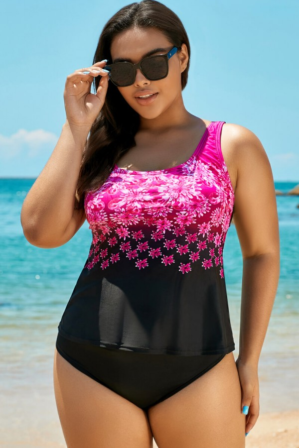 Pink Exploded Floral Sport Charming Women Tankini