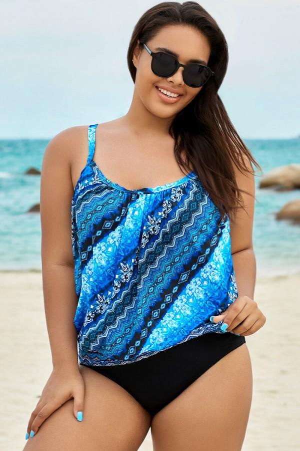 Blue Lightweight Scoopneck Fashion Blouson Tankini