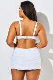 White Twist Front Bandeau Spa Bikini with Skirt