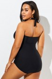 Black Cut Out Underwire Party One Piece Swimsuit