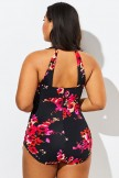 Poppies H-Back Sarong Front One Piece Swimsuit