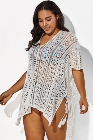 White Half Sleeves HollowOut Cover Up
