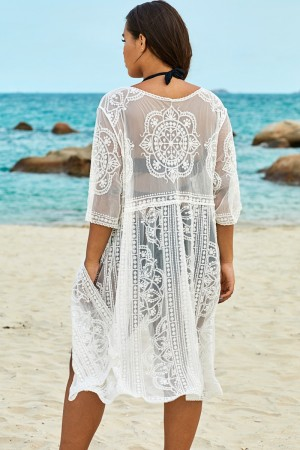 White Sexy Waves Embroidery Cover Up