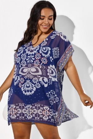 Navy Blue Fashion Floral Print Cover Up