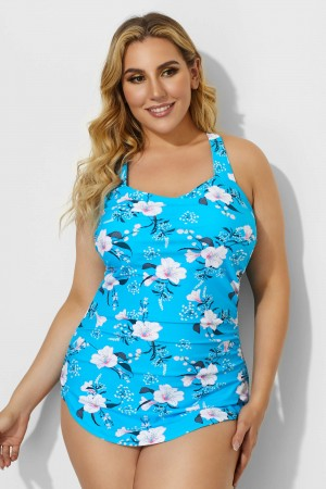 Blue Sarong Front Floral Printed One Piece Swimsuit