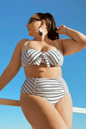 Black & White Stripe Underwire High Waist Bikini
